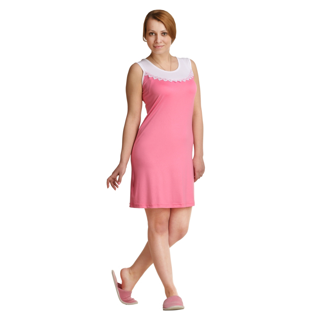 Женская сорочка Мия Розовый, размер 52Ночные сорочки<br>Обхват груди: 104 см <br>Обхват талии: 86 см <br>Обхват бедер: 112 см <br>Длина по спинке: 87 см <br>Рост: 164-170 см<br><br>Тип: Жен. сорочка<br>Размер: 52<br>Материал: Вискоза