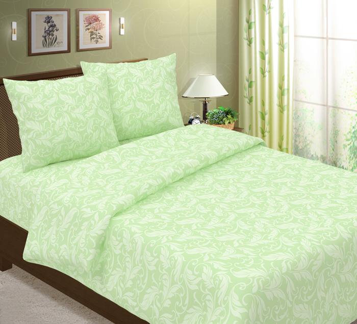 Комплект  Перья  Зеленый, размер 1,5 сп. - Постельное белье артикул: 8071