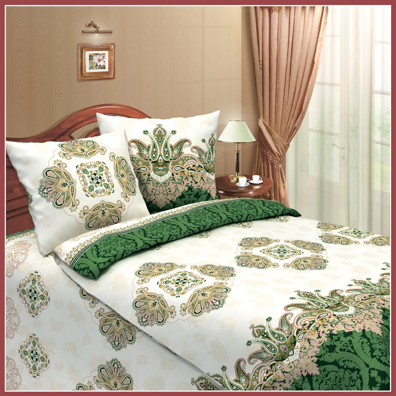 Комплект  Королевский  Зеленый, размер 1,5 сп. - Постельное белье артикул: 8070
