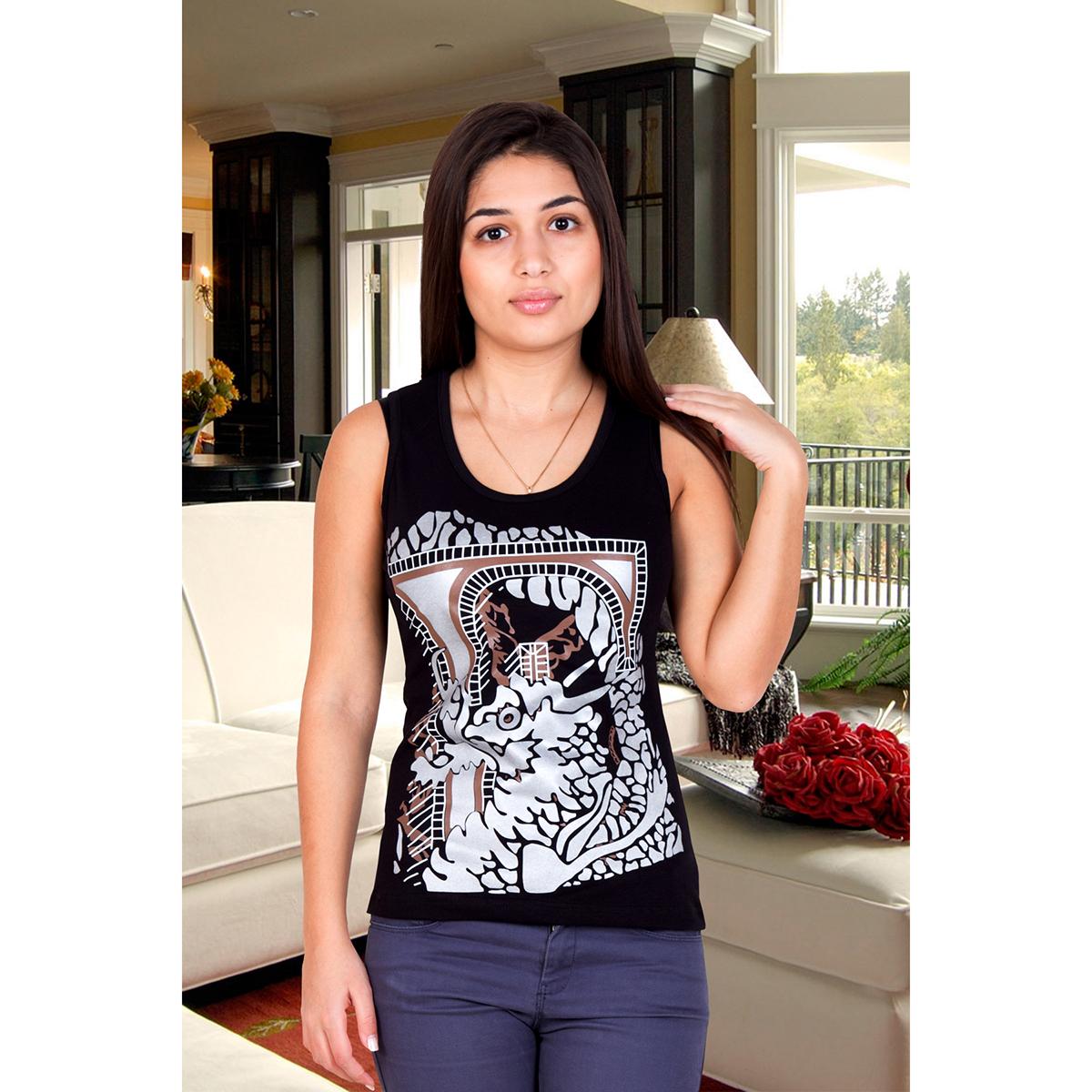 Женская майка Дракон, размер 42Блузки, майки, кофты<br>Обхват груди:84 см<br>Обхват талии:65 см<br>Обхват бедер:92 см<br>Рост:167 см<br><br>Тип: Жен. футболка<br>Размер: 42<br>Материал: Фулайкра