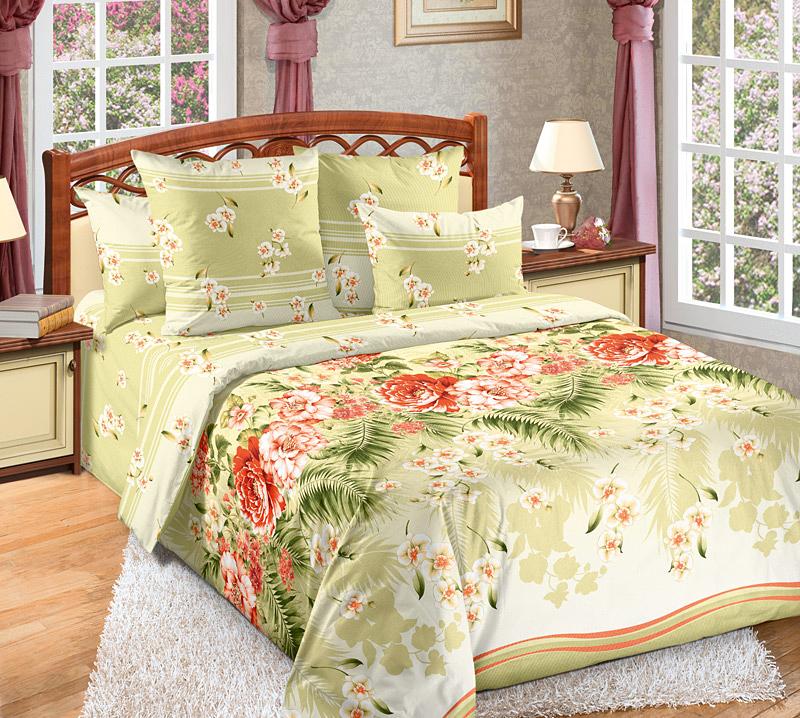 Комплект Тропикана Зеленый, размер 2,0-спальный с европростынейПеркаль<br>Плотность ткани:110 г/кв. м<br>Пододеяльник:215х175 см - 1 шт.<br>Простыня:220х240 см - 1 шт.<br>Наволочка:70х70 см - 2 шт.<br><br>Тип: КПБ<br>Размер: 2,0-сп. евро<br>Материал: Перкаль