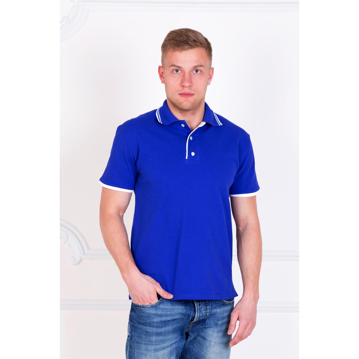 Мужская футболка-поло Эрик Голубой, размер 48Майки и футболки<br>Обхват груди: 96 см <br>Обхват талии: 88 см <br>Обхват бедер: 102 см <br>Рост: 172-180 см<br><br>Тип: Муж. футболка<br>Размер: 48<br>Материал: Пике