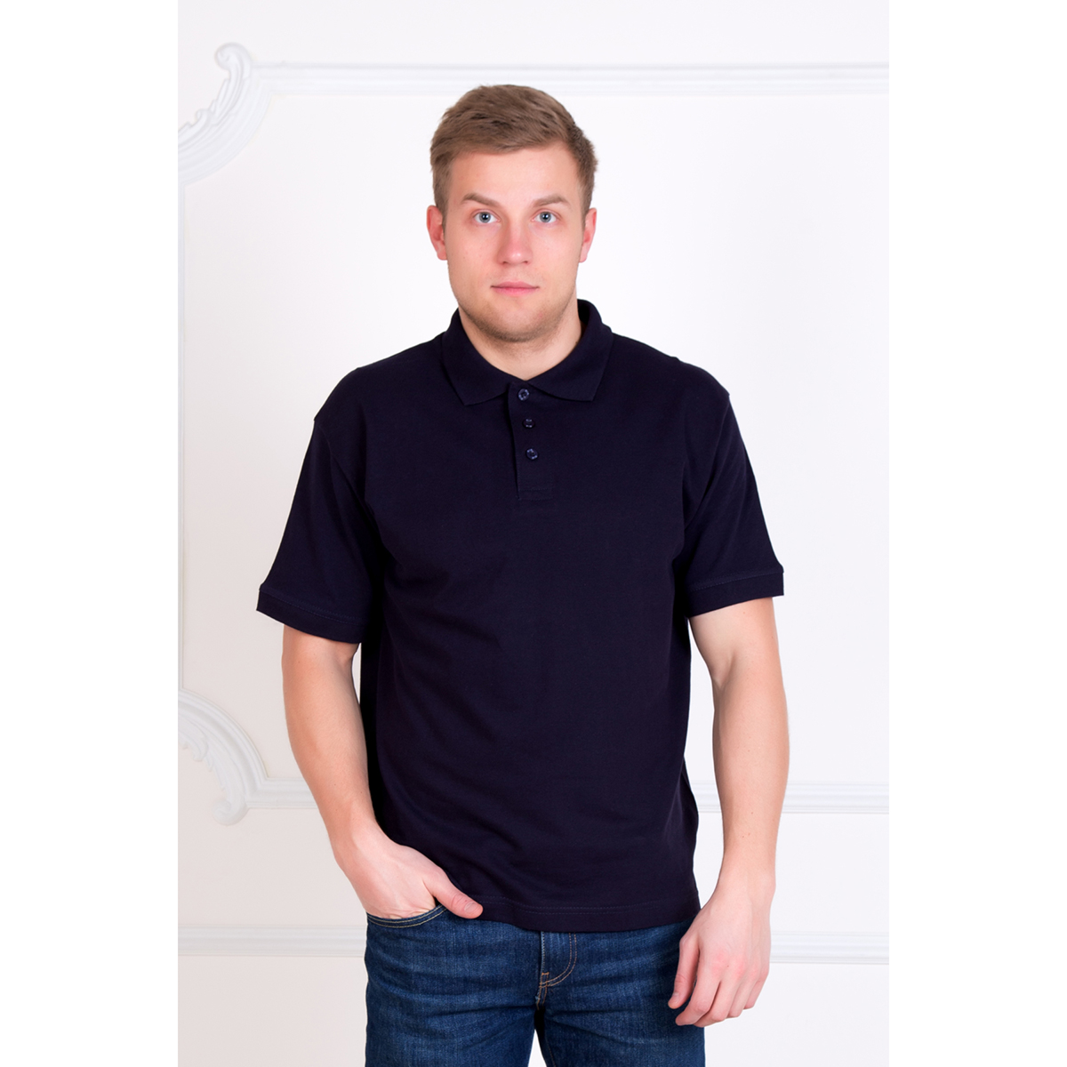 Мужская футболка-поло Макс Синий, размер 44Майки и футболки<br>Обхват груди: 88 см <br>Обхват талии: 78 см <br>Обхват бедер: 94 см <br>Рост: 170-176 см<br><br>Тип: Муж. футболка<br>Размер: 44<br>Материал: Пике