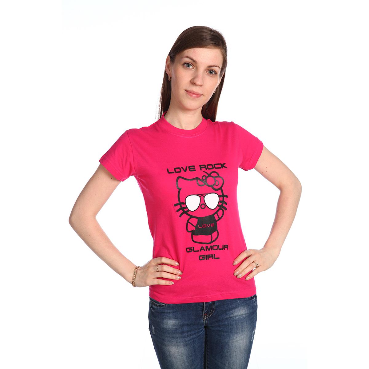 Женская футболка Glamour Girl Розовый, размер LБлузки, майки, кофты<br>Обхват груди:96 см<br>Обхват талии:77 см<br>Обхват бедер:104 см<br>Рост:164-170 см<br><br>Тип: Жен. футболка<br>Размер: L<br>Материал: Кулирка