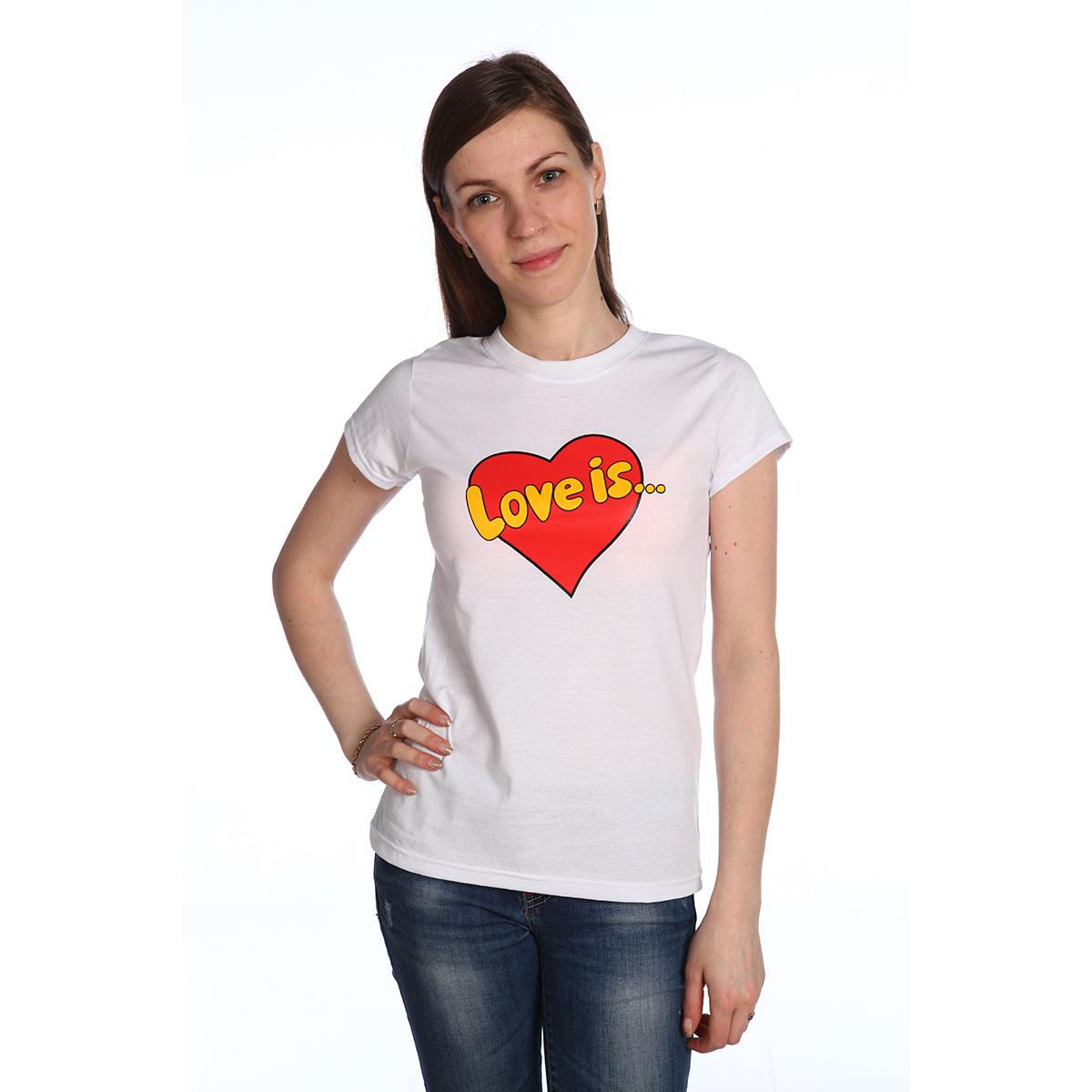 Женская футболка Love is Белый, размер LБлузки, майки, кофты<br>Обхват груди:96 см<br>Обхват талии:77 см<br>Обхват бедер:104 см<br>Рост:164-170 см<br><br>Тип: Жен. футболка<br>Размер: L<br>Материал: Кулирка