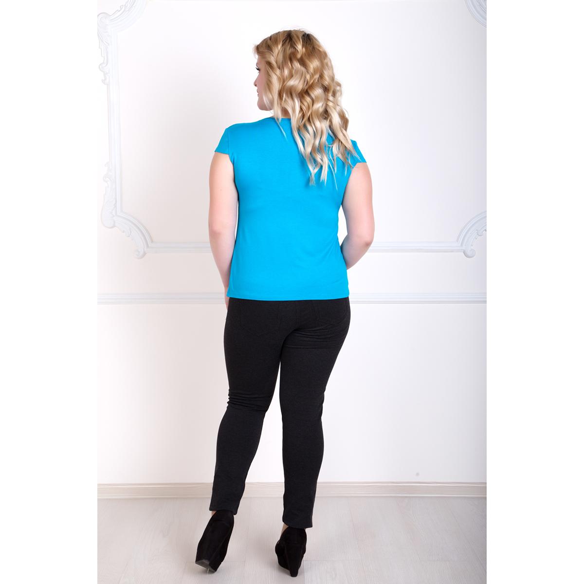 Женская блуза романтика голубой, размер 44
