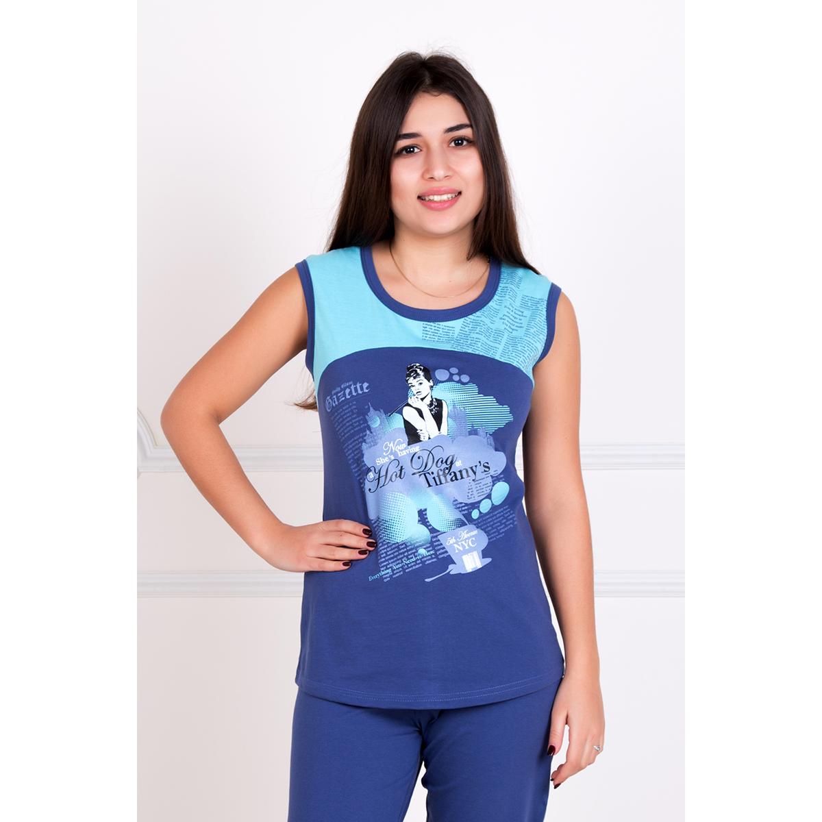 Женский костюм Одри Синий, размер 46Костюмы<br>Обхват груди:92 см<br>Обхват талии:74 см<br>Обхват бедер:100 см<br>Рост:167 см<br><br>Тип: Жен. костюм<br>Размер: 46<br>Материал: Кулирка