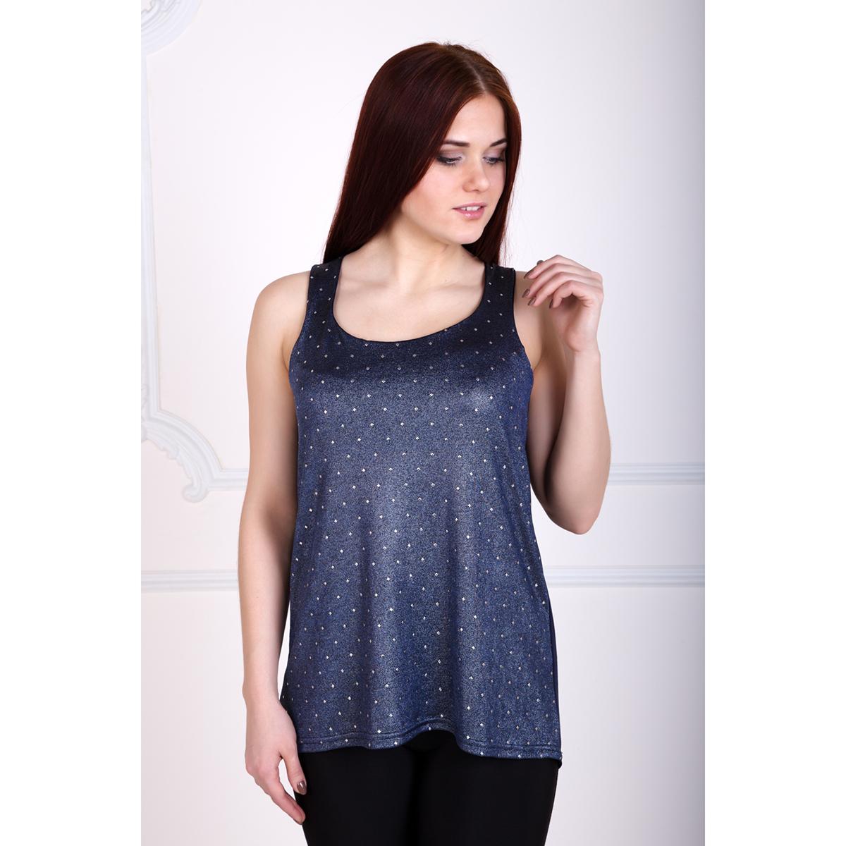 Женская майка Инес Синий, размер 50Майки и футболки<br>Обхват груди: 100 см <br>Обхват талии: 82 см <br>Обхват бедер: 108 см <br>Рост: 167 см<br><br>Тип: Жен. футболка<br>Размер: 50<br>Материал: Вискоза