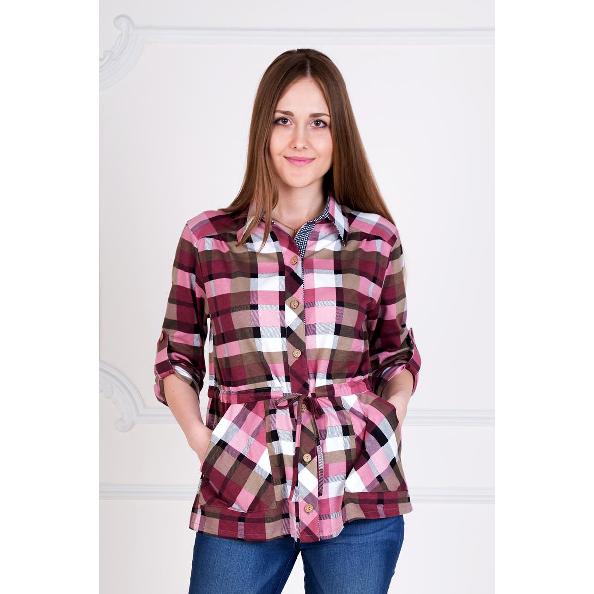 Женская рубашка Клетка Брусничный, размер 46Рубашки<br>Обхват груди:92 см<br>Обхват талии:74 см<br>Обхват бедер:100 см<br>Рост:167 см<br><br>Тип: Жен. рубашка<br>Размер: 46<br>Материал: Кулирка