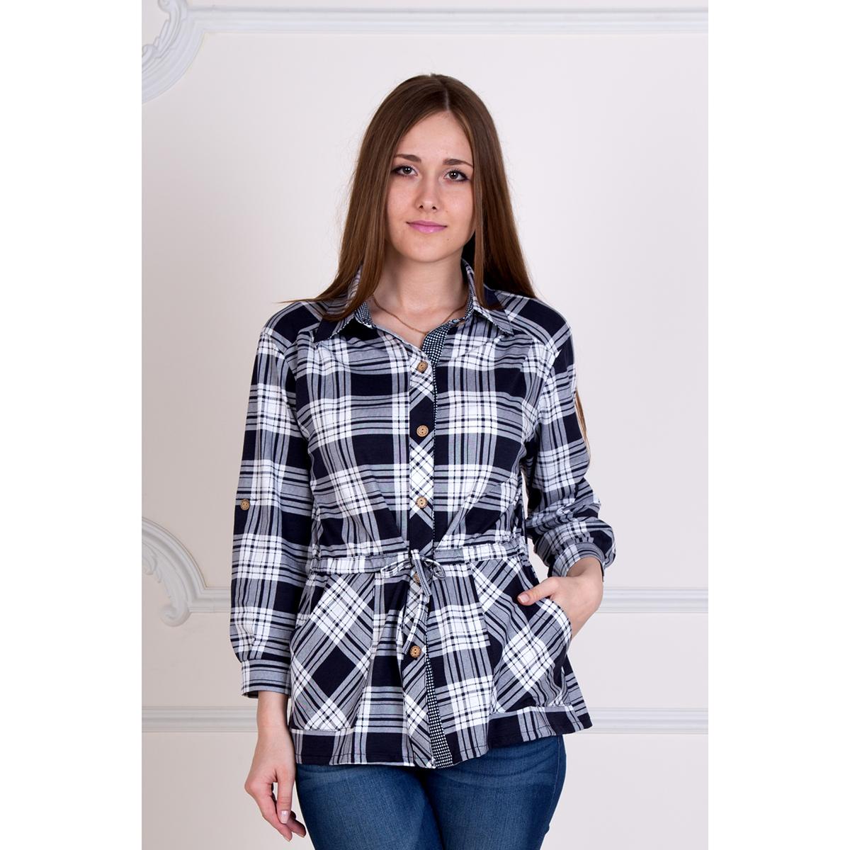 Женская рубашка Клетка Черный, размер 60Рубашки<br>Обхват груди:120 см<br>Обхват талии:101 см<br>Обхват бедер:128 см<br>Рост:167 см<br><br>Тип: Жен. рубашка<br>Размер: 60<br>Материал: Кулирка