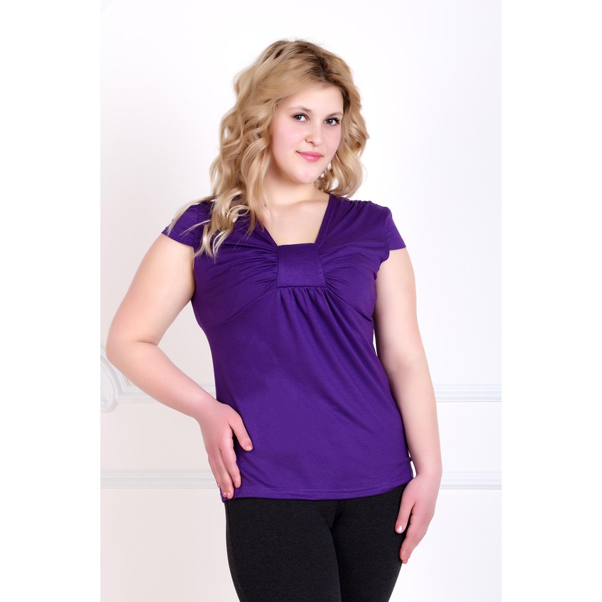 Женская блуза Романтика Фиолетовый, размер 52Блузы<br>Обхват груди:104 см<br>Обхват талии:85 см<br>Обхват бедер:112 см<br>Рост:167 см<br><br>Тип: Жен. блуза<br>Размер: 52<br>Материал: Вискоза