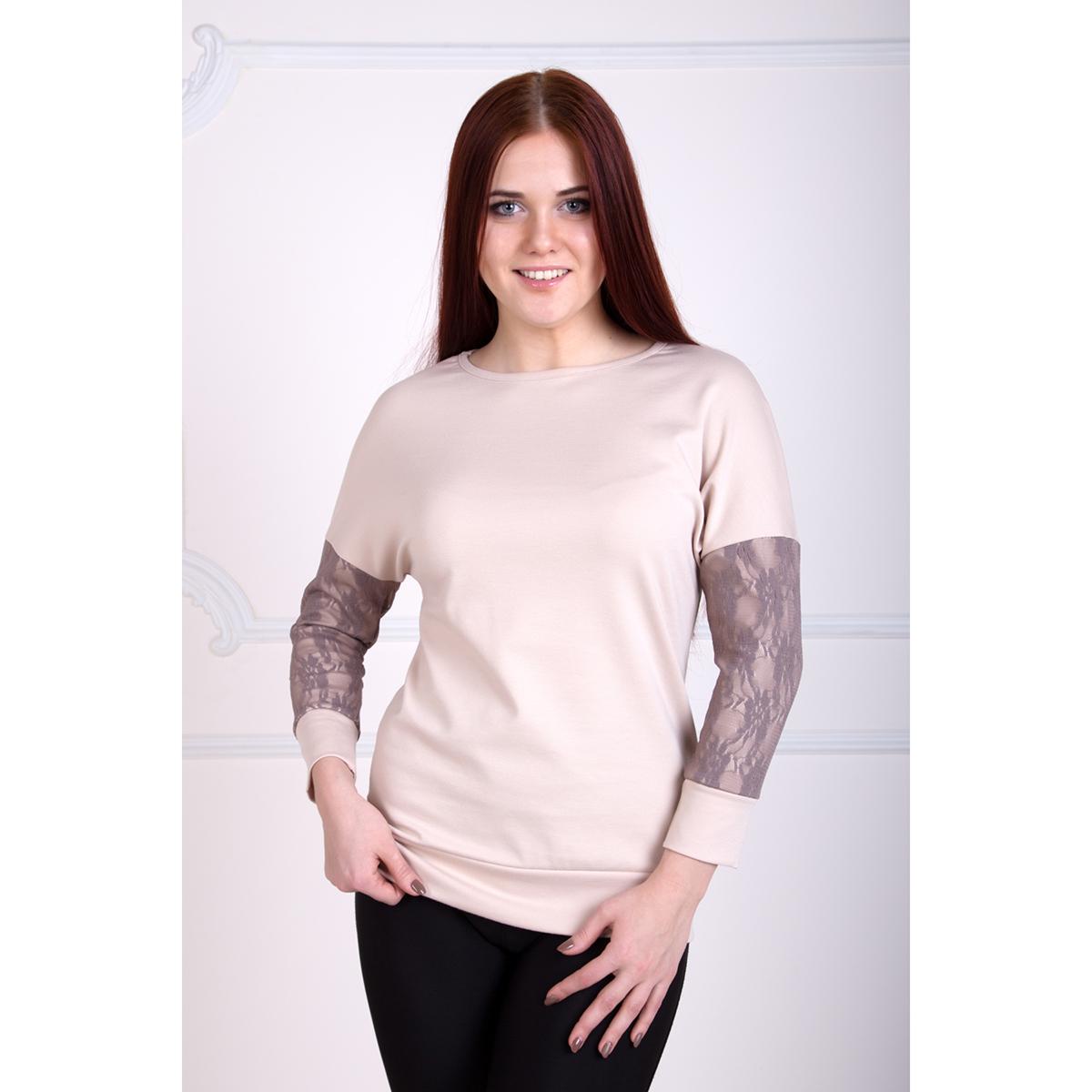Женская блуза Лиана, размер 58Блузы<br>Обхват груди:116 см<br>Обхват талии:97 см<br>Обхват бедер:124 см<br>Рост:167 см<br><br>Тип: Жен. блуза<br>Размер: 58<br>Материал: Милано