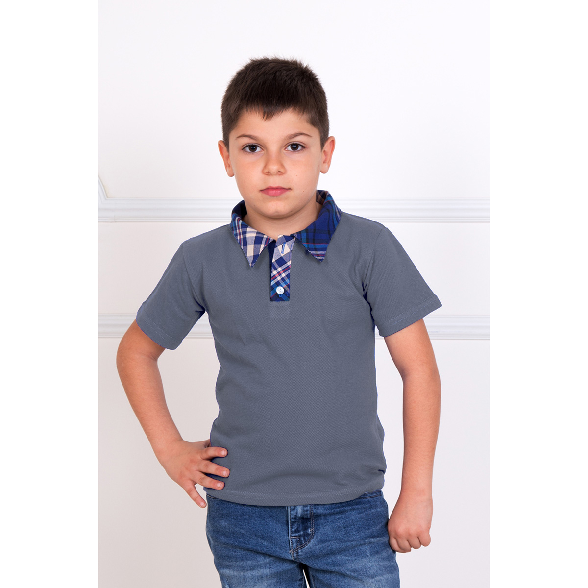 """Детская футболка-поло """"Лаки"""" Серый, размер 34 Лика Дресс"""