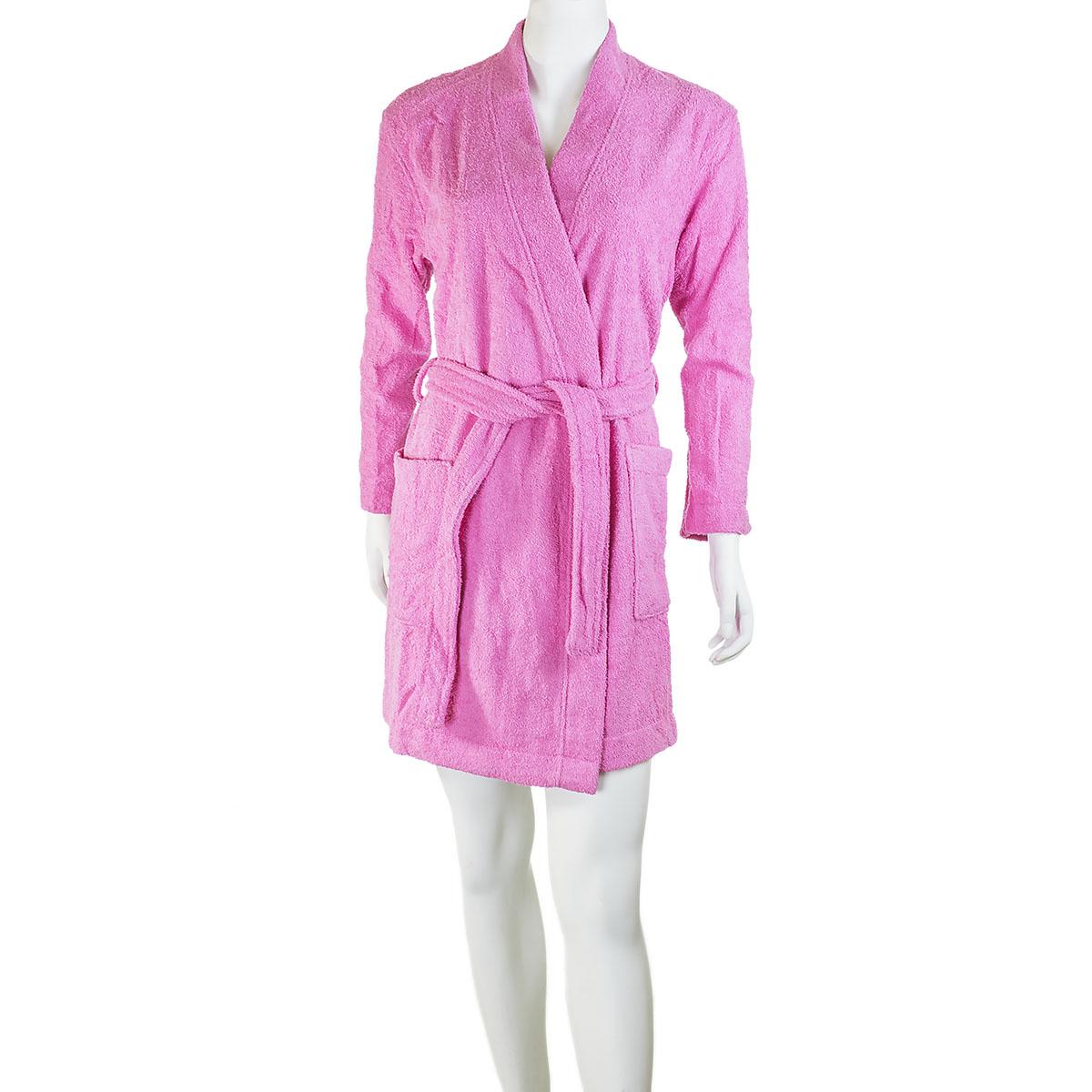 Женский халат «Серейа» Розовый, размер 44Халаты<br>Обхват груди:88 см<br>Обхват талии:69 см<br>Обхват бедер:96 см<br>Рост:164-170 см<br><br>Тип: Жен. халат<br>Размер: 44<br>Материал: Махра