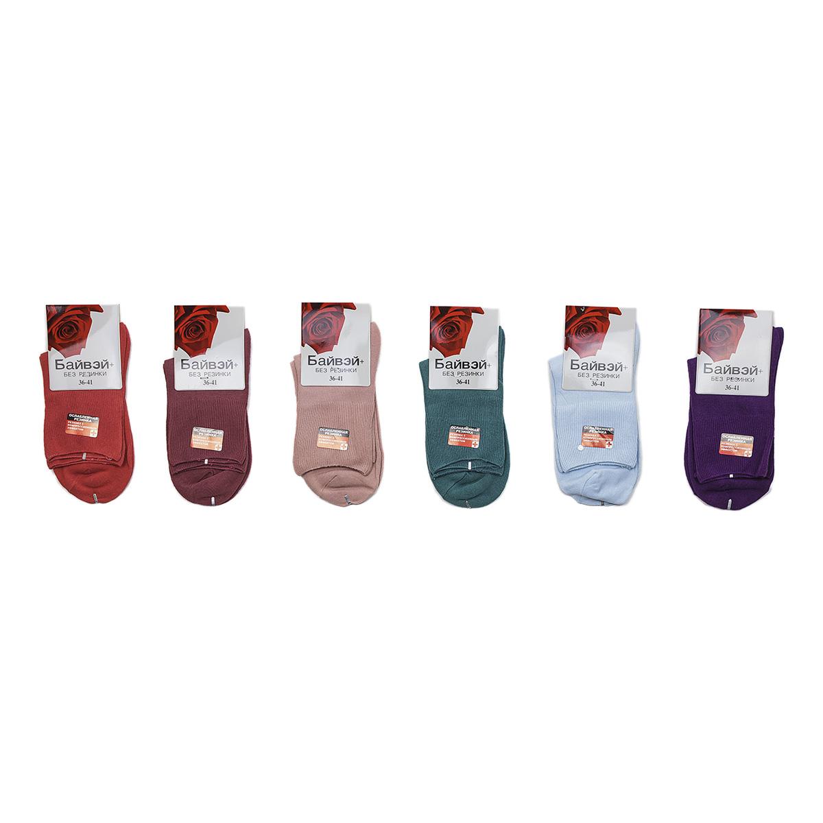 Носки женские Байвэй, цвет ЧерныйНоски и чулки<br><br><br>Тип: Жен. носки<br>Размер: 36-41<br>Материал: Хлопок