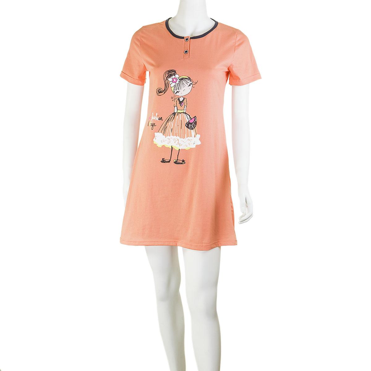 Женская сорочка Девочка Персиковый, размер 56Пижамы и ночные сорочки<br>Обхват груди:112 см<br>Обхват талии:95 см<br>Обхват бедер:120 см<br>Длина по спинке:90 см<br>Рост:164-170 см<br><br>Тип: Жен. сорочка<br>Размер: 56<br>Материал: Кулирка