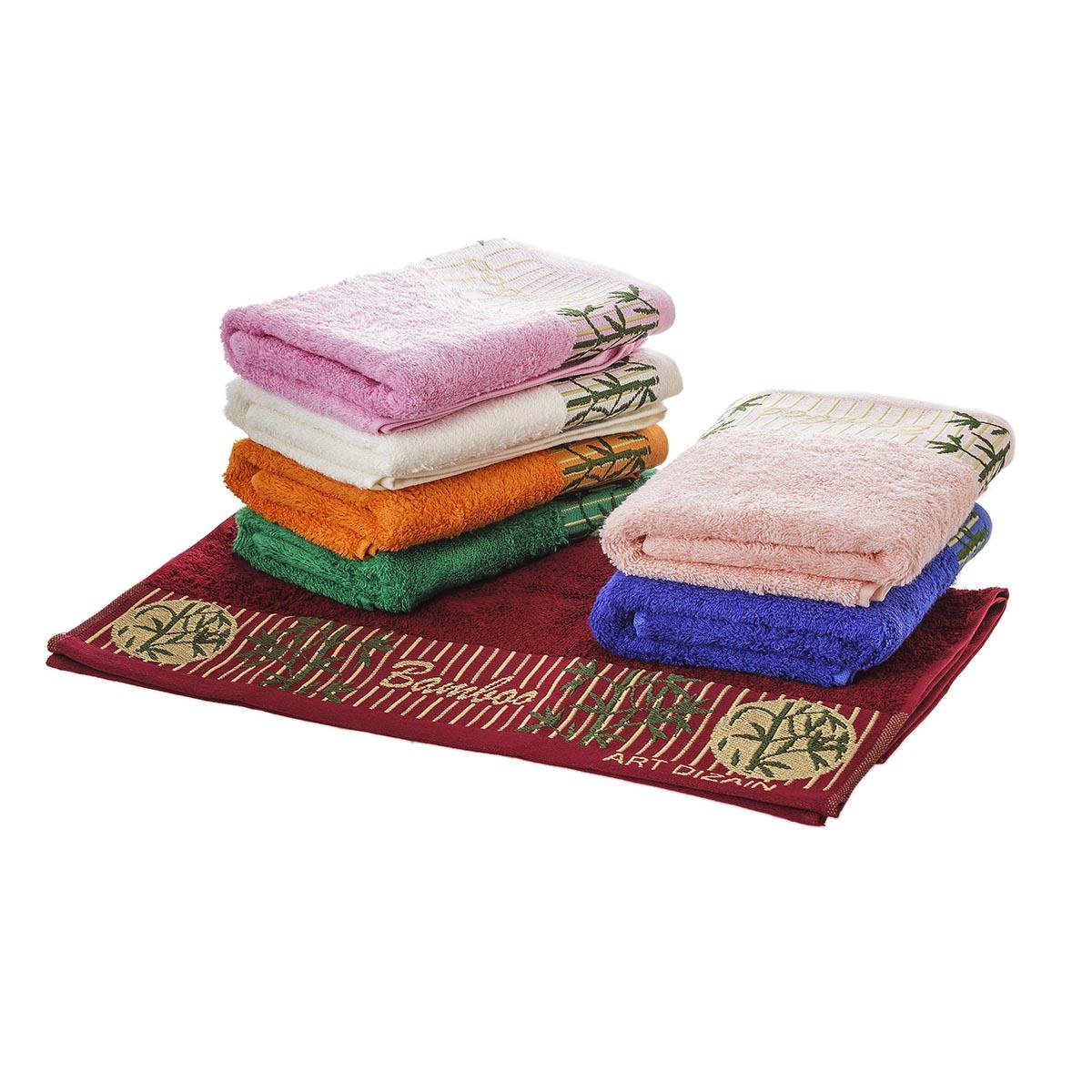 Набор полотенец Бамбук, цвет ПерсиковыйМахровые полотенца<br>Плотность ткани:480 г/кв. м<br><br>Тип: Полотенце<br>Размер: -<br>Материал: Бамбук