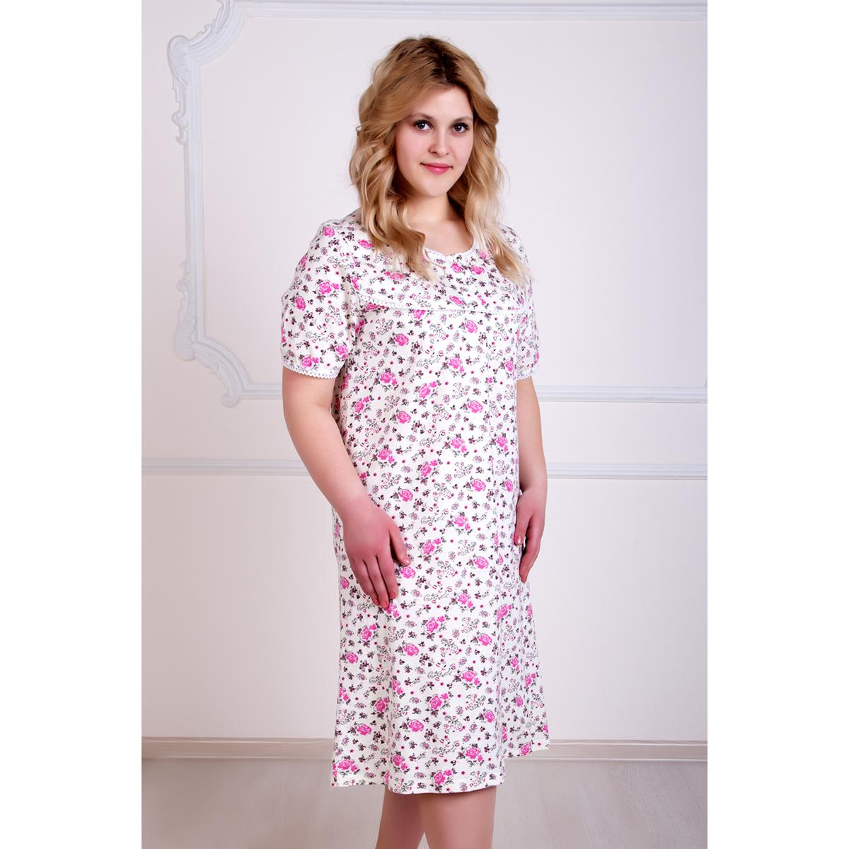 Женская сорочка Цветочек арт. 0288, размер 52Пижамы и ночные сорочки<br>Обхват груди:104 см<br>Обхват талии:85 см<br>Обхват бедер:112 см<br>Рост:167 см<br><br>Тип: Жен. сорочка<br>Размер: 52<br>Материал: Кулирка