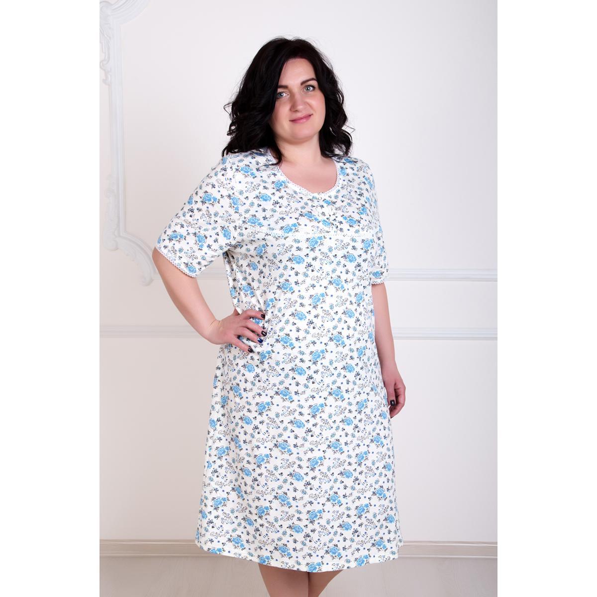 Женская сорочка Цветочек арт. 0289, размер 48Пижамы и ночные сорочки<br>Обхват груди:96 см<br>Обхват талии:78 см<br>Обхват бедер:104 см<br>Рост:167 см<br><br>Тип: Жен. сорочка<br>Размер: 48<br>Материал: Кулирка