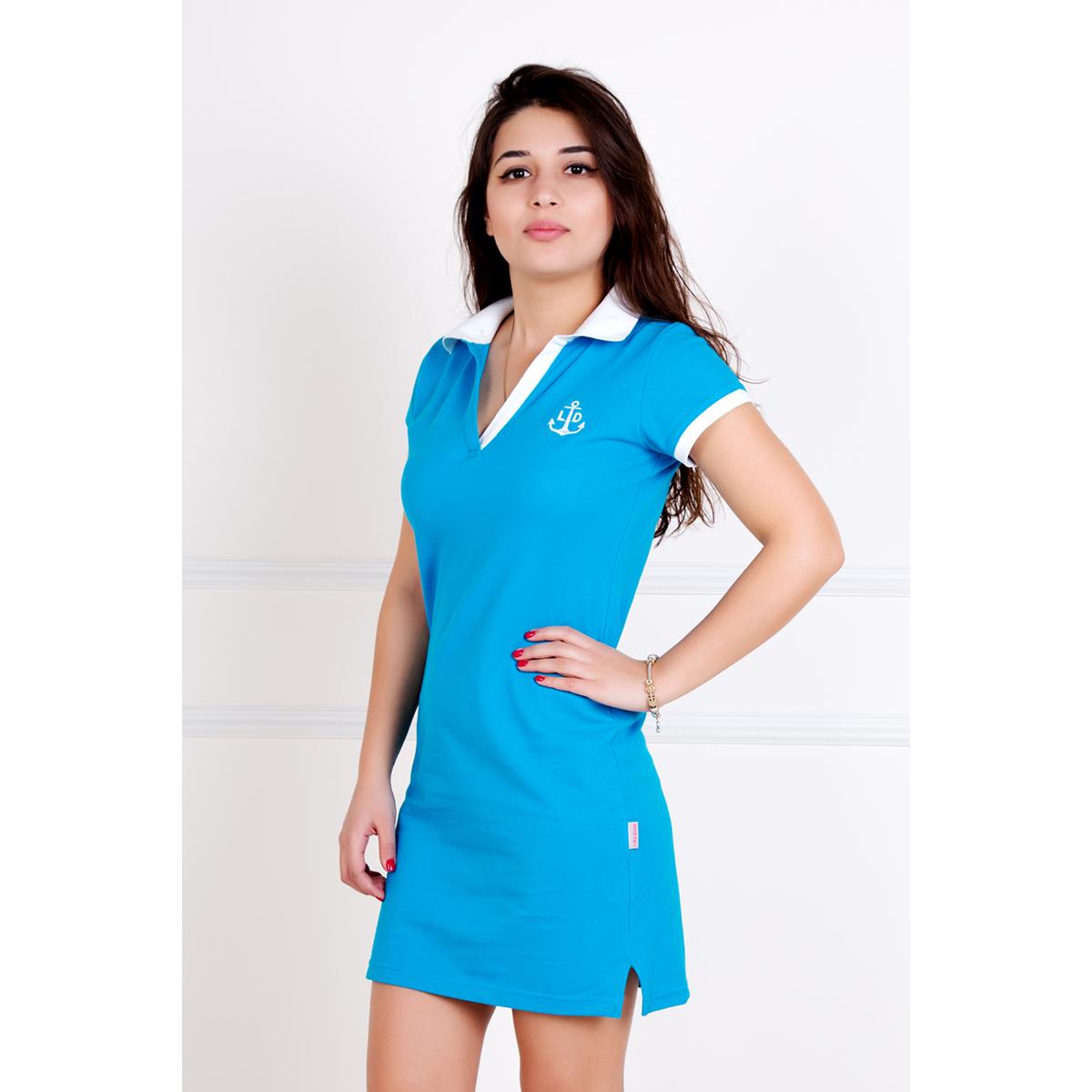 Женское платье Поло Голубой, размер 52Платья<br>Обхват груди:104 см<br>Обхват талии:85 см<br>Обхват бедер:112 см<br>Длина по спинке:99 см<br>Рост:167 см<br><br>Тип: Жен. платье<br>Размер: 52<br>Материал: Пике