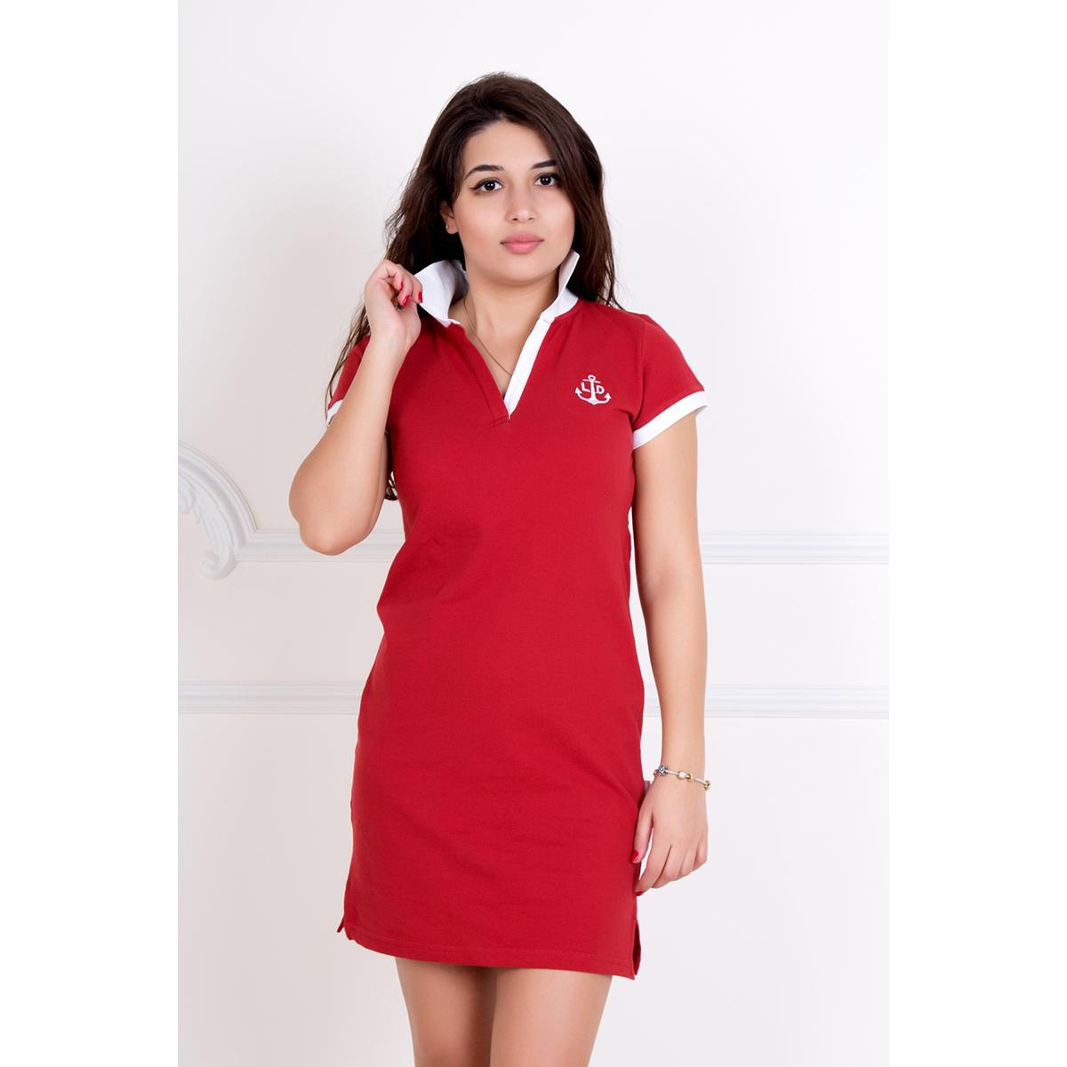 Женское платье Поло Красный, размер 44Платья<br>Обхват груди: 88 см <br>Обхват талии: 68 см <br>Обхват бедер: 96 см <br>Длина по спинке: 93 см <br>Рост: 167 см<br><br>Тип: Жен. платье<br>Размер: 44<br>Материал: Пике