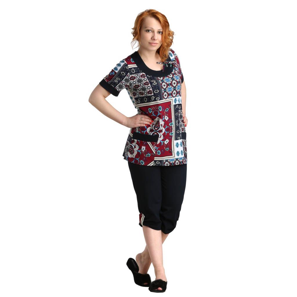 Женский костюм Лайза Бордовый, размер 64Костюмы<br>Обхват груди:128 см<br>Обхват талии:120 см<br>Обхват бедер:136 см<br>Длина блузы по спинке:76 см<br>Длина брючин во внеш. шву:80 см<br>Рост:164-170 см<br><br>Тип: Жен. костюм<br>Размер: 64<br>Материал: Кулирка