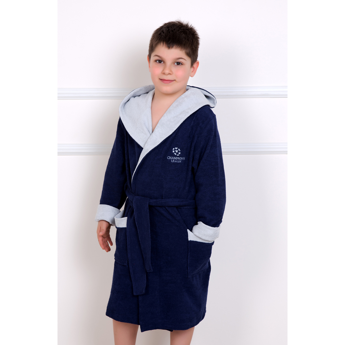 Детский халат Чемпион Синий, размер 8 летХалаты<br><br><br>Тип: Дет. халат<br>Размер: 8 лет<br>Материал: Махра