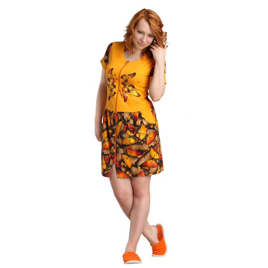 Женский халат Кари Оранжевый, размер 56Халаты<br>Обхват груди:112 см<br>Обхват талии:95 см<br>Обхват бедер:120 см<br>Длина по спинке:97 см<br>Рост:164-170 см<br><br>Тип: Жен. халат<br>Размер: 56<br>Материал: Кулирка