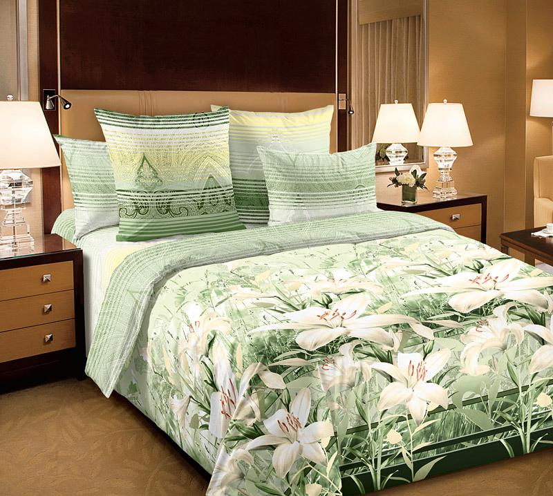 Комплект Луиза Зеленый, размер ЕвроПеркаль<br>Плотность ткани:110 г/кв. м<br>Пододеяльник:220х200 см - 1 шт.<br>Простыня:220х240 см - 1 шт.<br>Наволочка:70х70 см - 2 шт.<br><br>Тип: КПБ<br>Размер: Евро<br>Материал: Перкаль