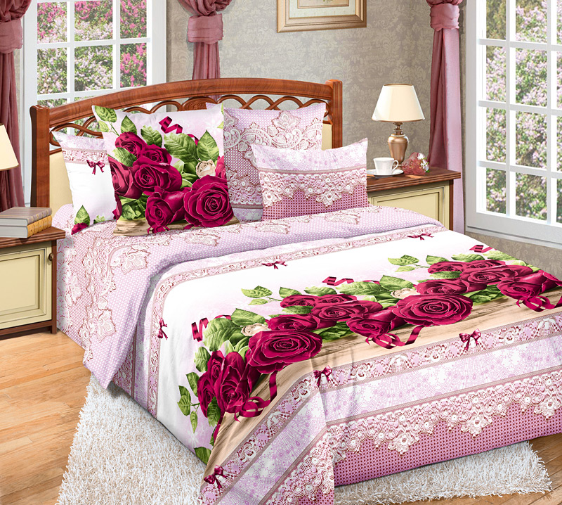 КПБ  Розы  Розовый, размер Евро - Постельное белье артикул: 8942