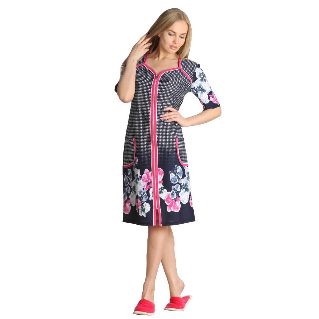 Женский халат Вики Розовый, размер 60Халаты<br>Обхват груди:120 см<br>Обхват талии:105 см<br>Обхват бедер:128 см<br>Длина по спинке:100 см<br>Рост:164-170 см<br><br>Тип: Жен. халат<br>Размер: 60<br>Материал: Кулирка