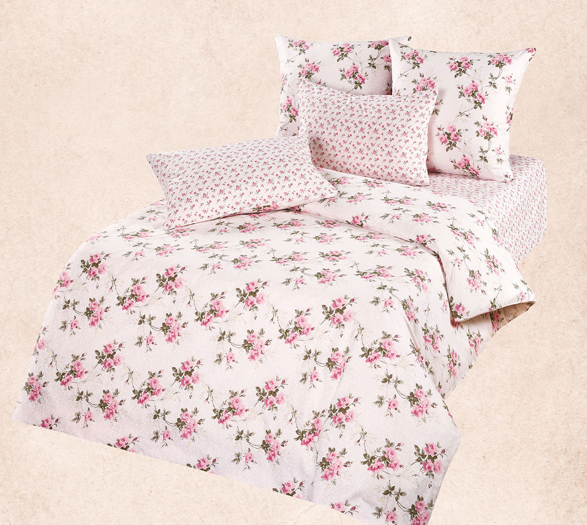 Комплект Роза, размер 2,0-спальный с европростынейРанфорс<br><br><br>Тип: КПБ<br>Размер: 2,0-сп. евро<br>Материал: Ранфорс