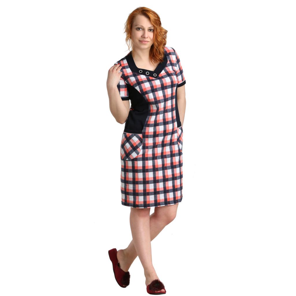 """Женская туника-платье """"Лара"""" Коралл, размер 64 ЕленаТекс"""