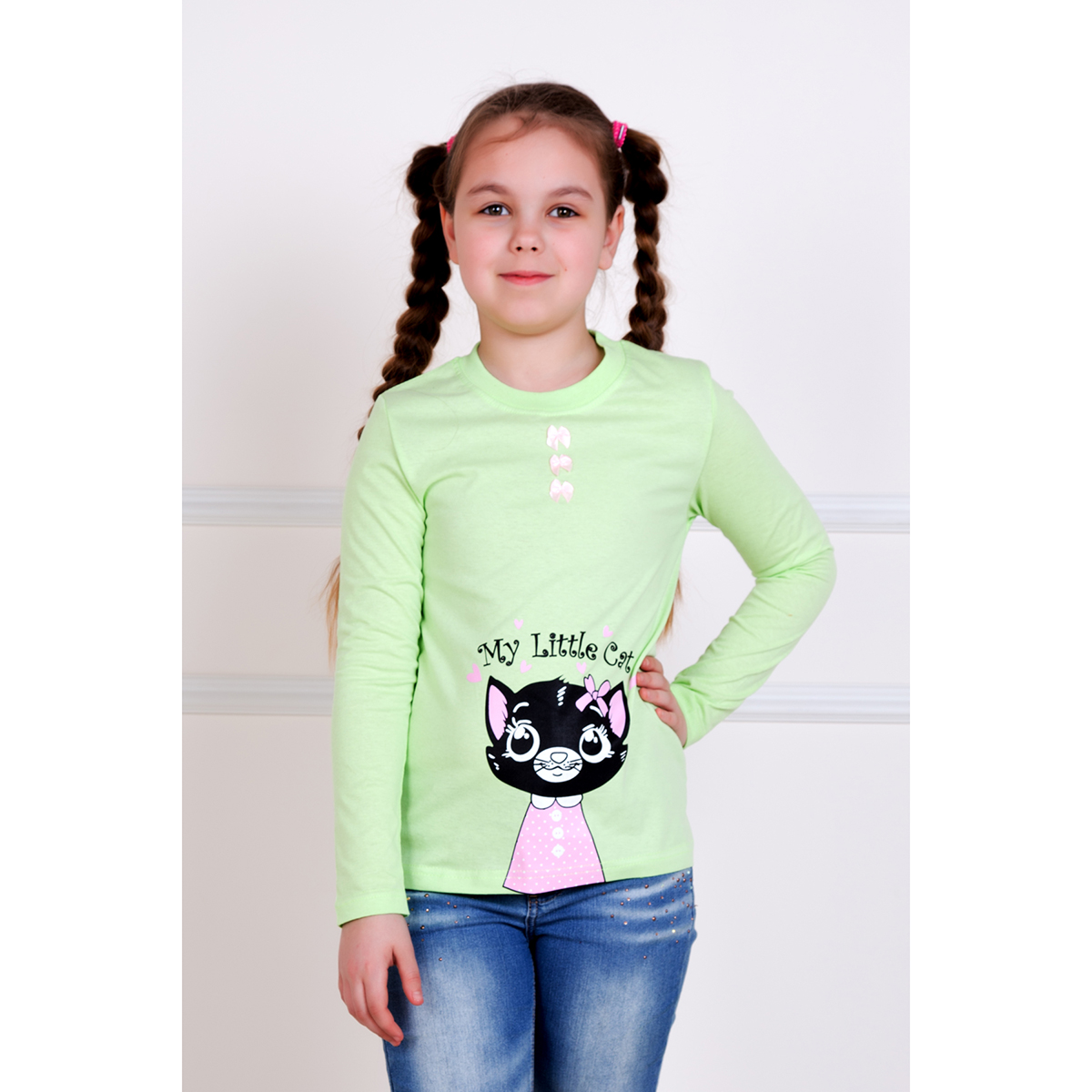 Детская футболка Кэт Салатовый, размер 3 годаТолстовки, джемпера и рубашки<br><br><br>Тип: Дет. футболка<br>Размер: 3 года<br>Материал: Кулирка