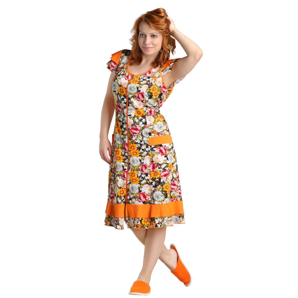 """Женский халат """"Ирис"""" Оранжевый, размер 52 ЕленаТекс"""