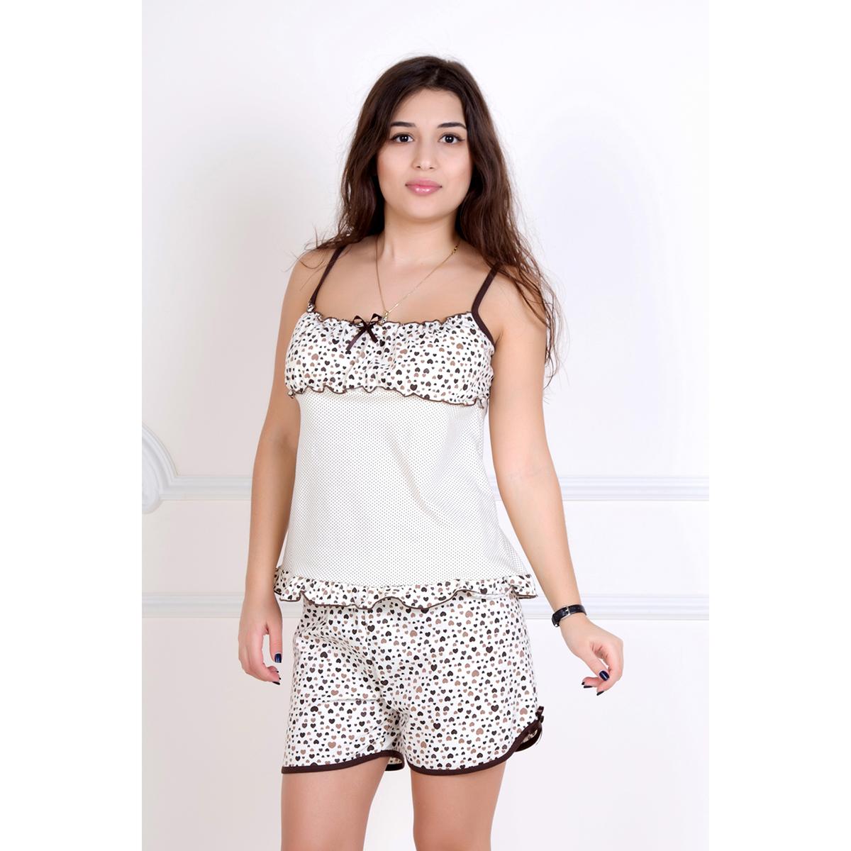 Женский пижама Мимоза Бежевый, размер 42Пижамы и ночные сорочки<br>Обхват груди:84 см<br>Обхват талии:65 см<br>Обхват бедер:92 см<br>Рост:167 см<br><br>Тип: Жен. костюм<br>Размер: 42<br>Материал: Кулирка
