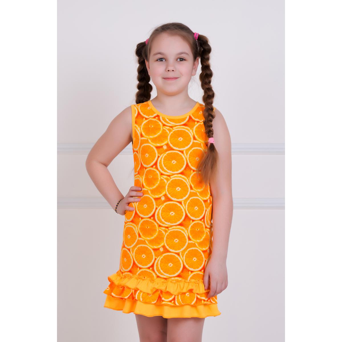 Детское платье Мандаринка, размер 7 летПлатья и сарафаны<br>Рост:122-128<br><br>Тип: Дет. платье<br>Размер: 7 лет<br>Материал: Кулирка