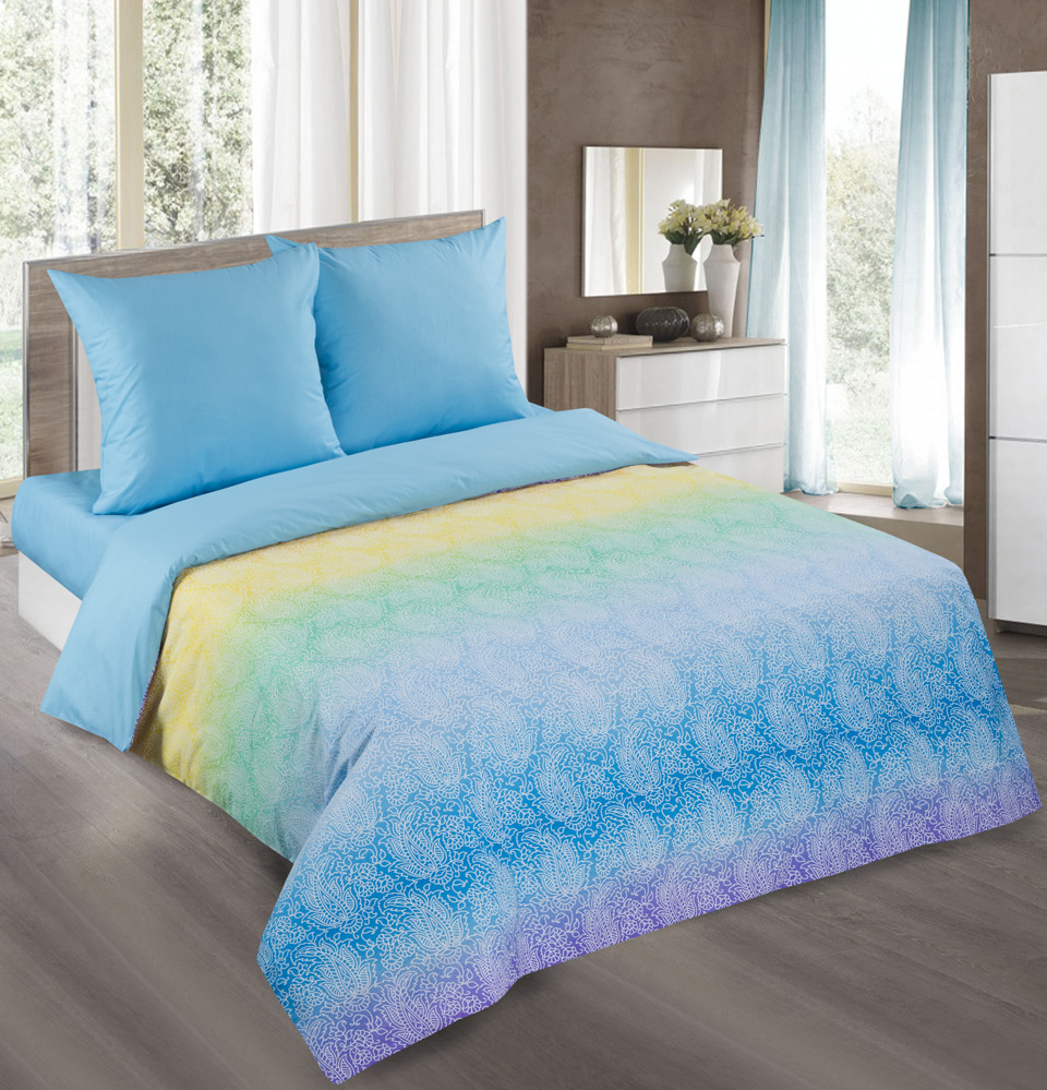 Комплект  Лазурь  Голубой, размер Семейный - Постельное белье артикул: 9705