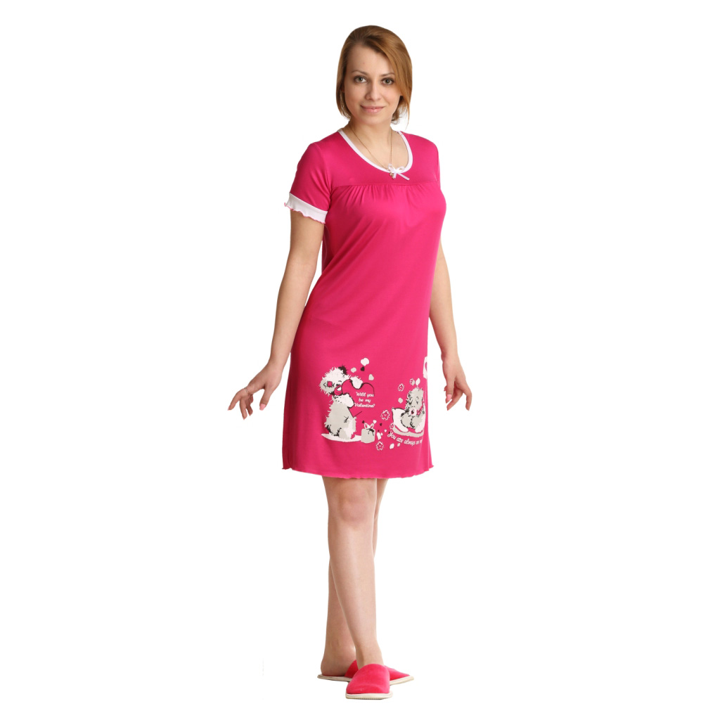 Женская сорочка Сладких снов Малиновый, размер 48Ночные сорочки<br>Обхват груди:96 см<br>Обхват талии:77 см<br>Обхват бедер:104 см<br>Длина по спинке:91 см<br>Рост:164-170 см<br><br>Тип: Жен. сорочка<br>Размер: 48<br>Материал: Вискоза