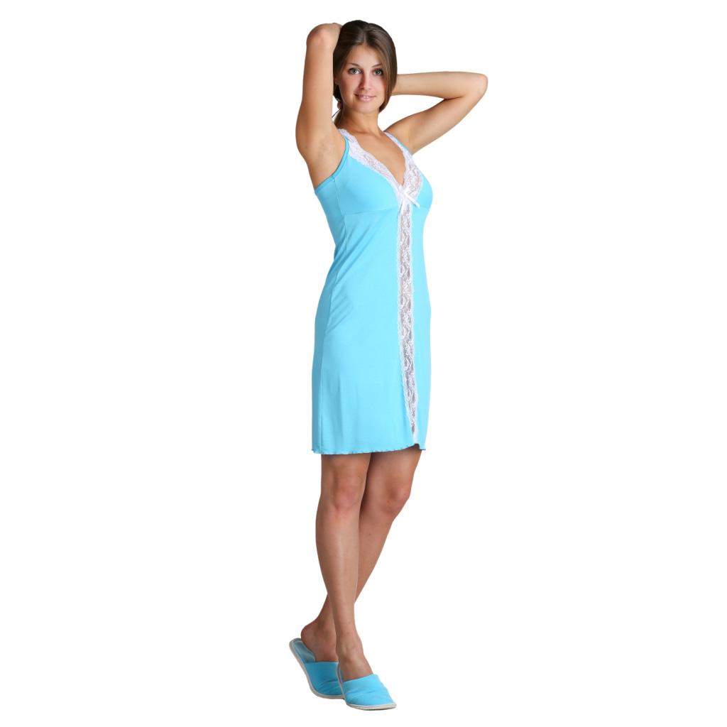 """Женская сорочка """"Алиса"""" Бирюзовый, размер 46 ЕленаТекс"""