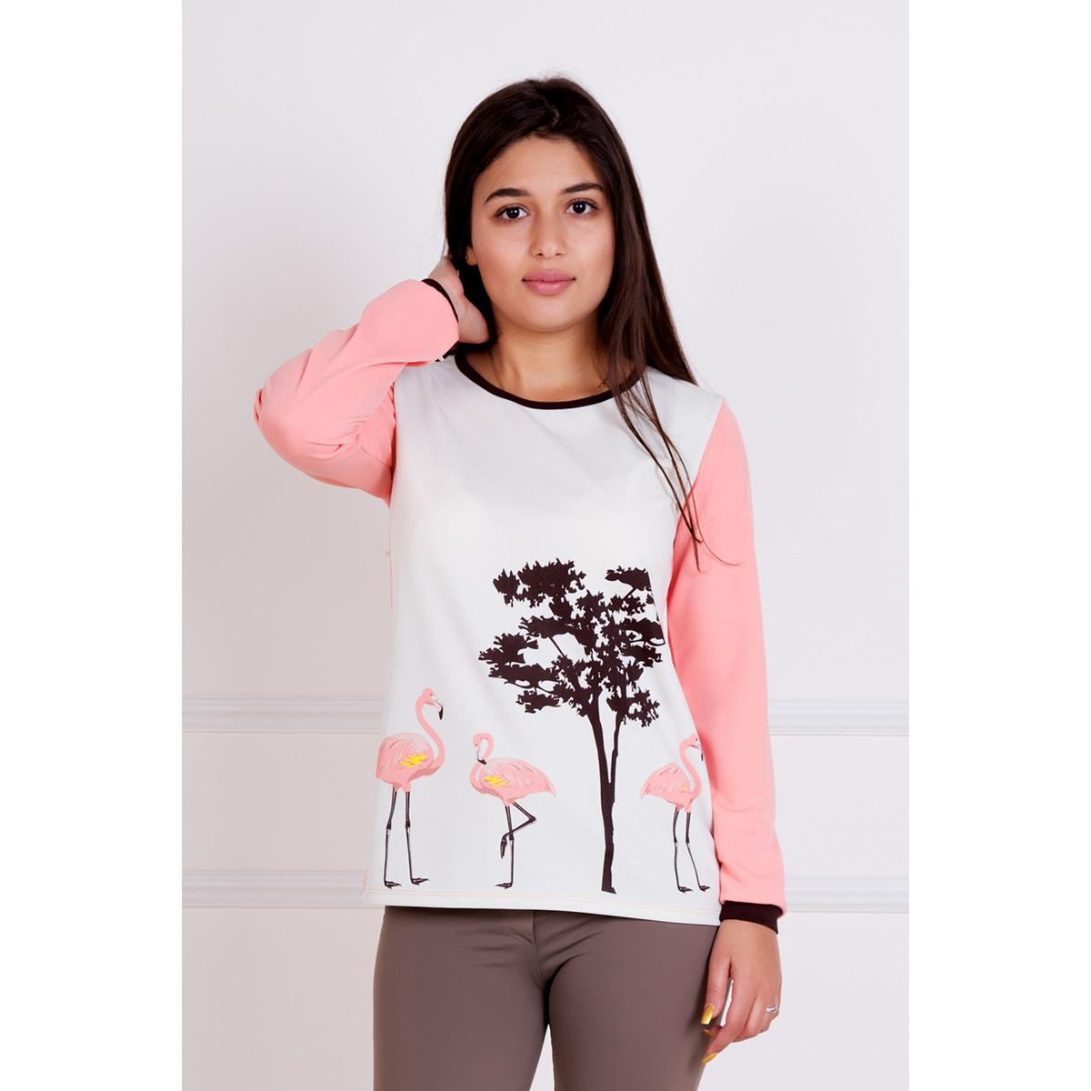 Женская блуза Фламинго, размер 46Блузы<br>Обхват груди:92 см<br>Обхват талии:74 см<br>Обхват бедер:100 см<br>Длина по спинке:66 см<br>Рост:167 см<br><br>Тип: Жен. блуза<br>Размер: 46<br>Материал: Креп