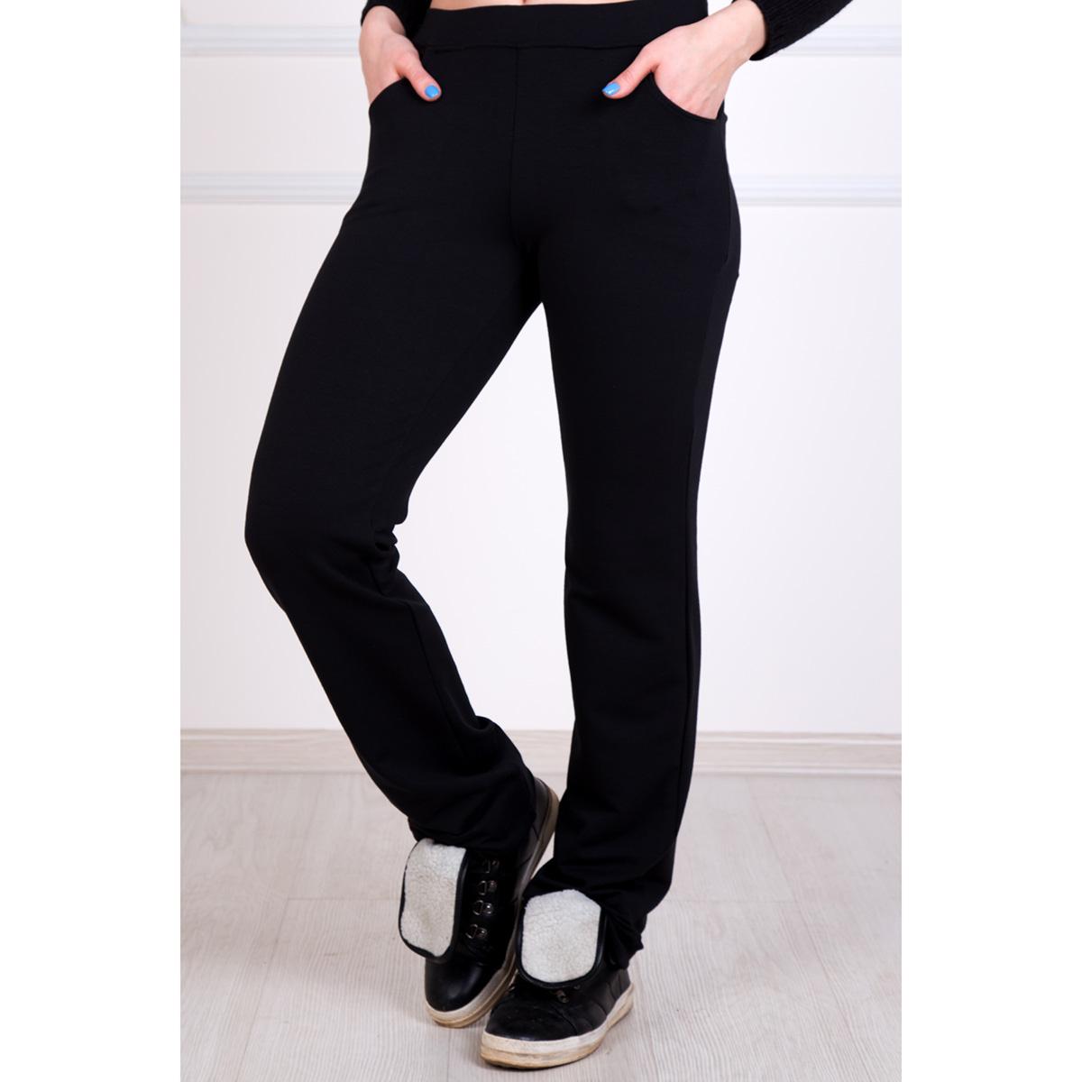Женские брюки Симона Черный, размер 56Брюки<br>Обхват талии:92 см<br>Обхват бедер:120 см<br>Рост:167 см<br><br>Тип: Жен. брюки<br>Размер: 56<br>Материал: Футер