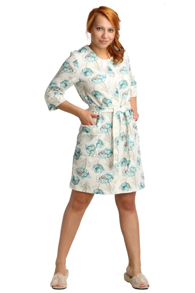 Жен. халат арт. 16-0042 Бирюзовый р. 54Распродажа женской одежды<br>Обхват груди: 108 см <br>Обхват талии: 90 см <br>Обхват бедер: 116 см <br>Длина по спинке: 100 см <br>Рост: 164-170 см<br><br>Тип: Жен. халат<br>Размер: 54<br>Материал: Капитоний