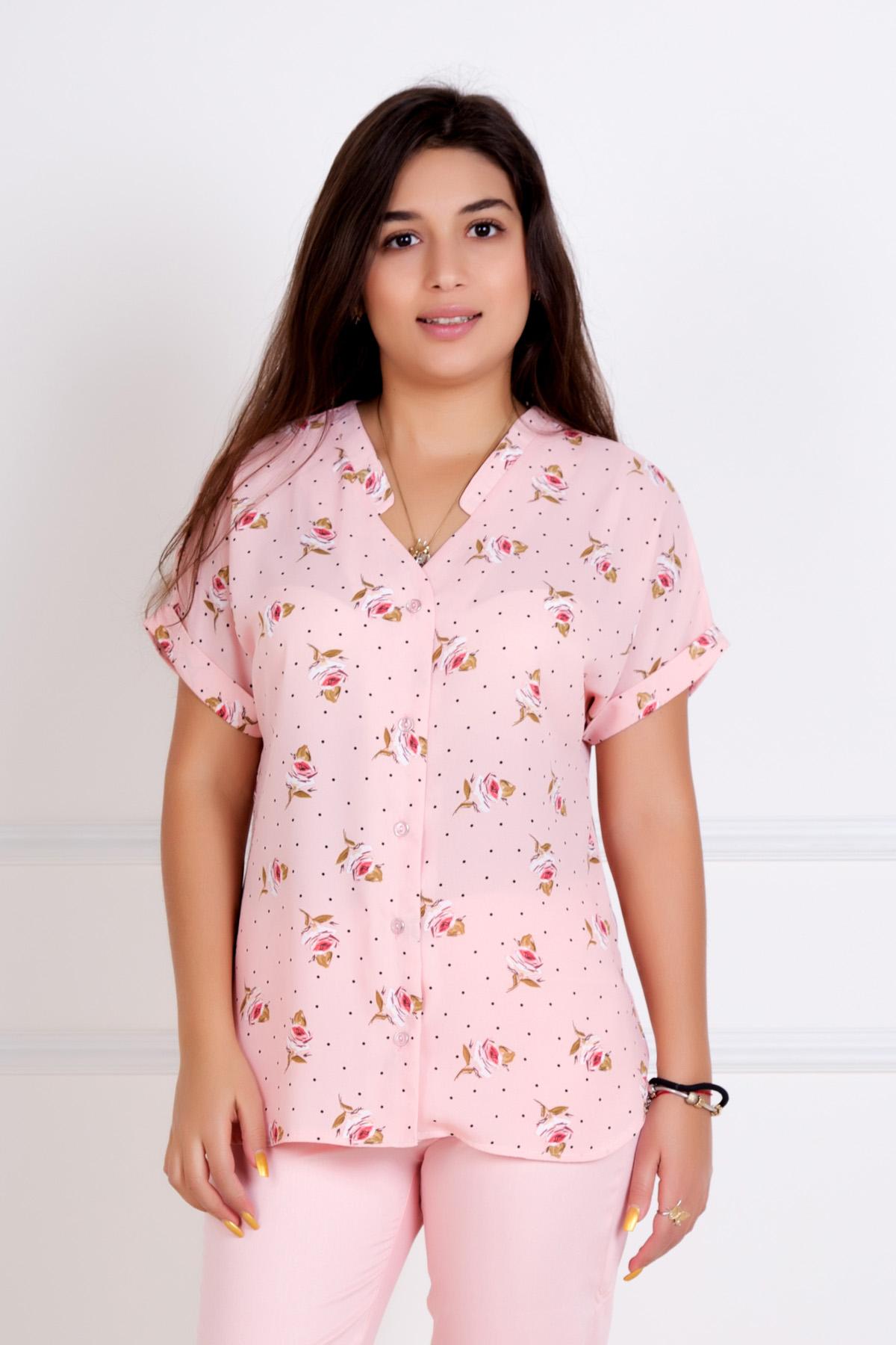 Жен. блуза Илона Розовый р. 44Блузы<br>Обхват груди: 88 см <br>Обхват талии: 68 см <br>Обхват бедер: 96 см <br>Длина по спинке: 63 см <br>Рост: 167 см<br><br>Тип: Жен. блуза<br>Размер: 44<br>Материал: Шифон