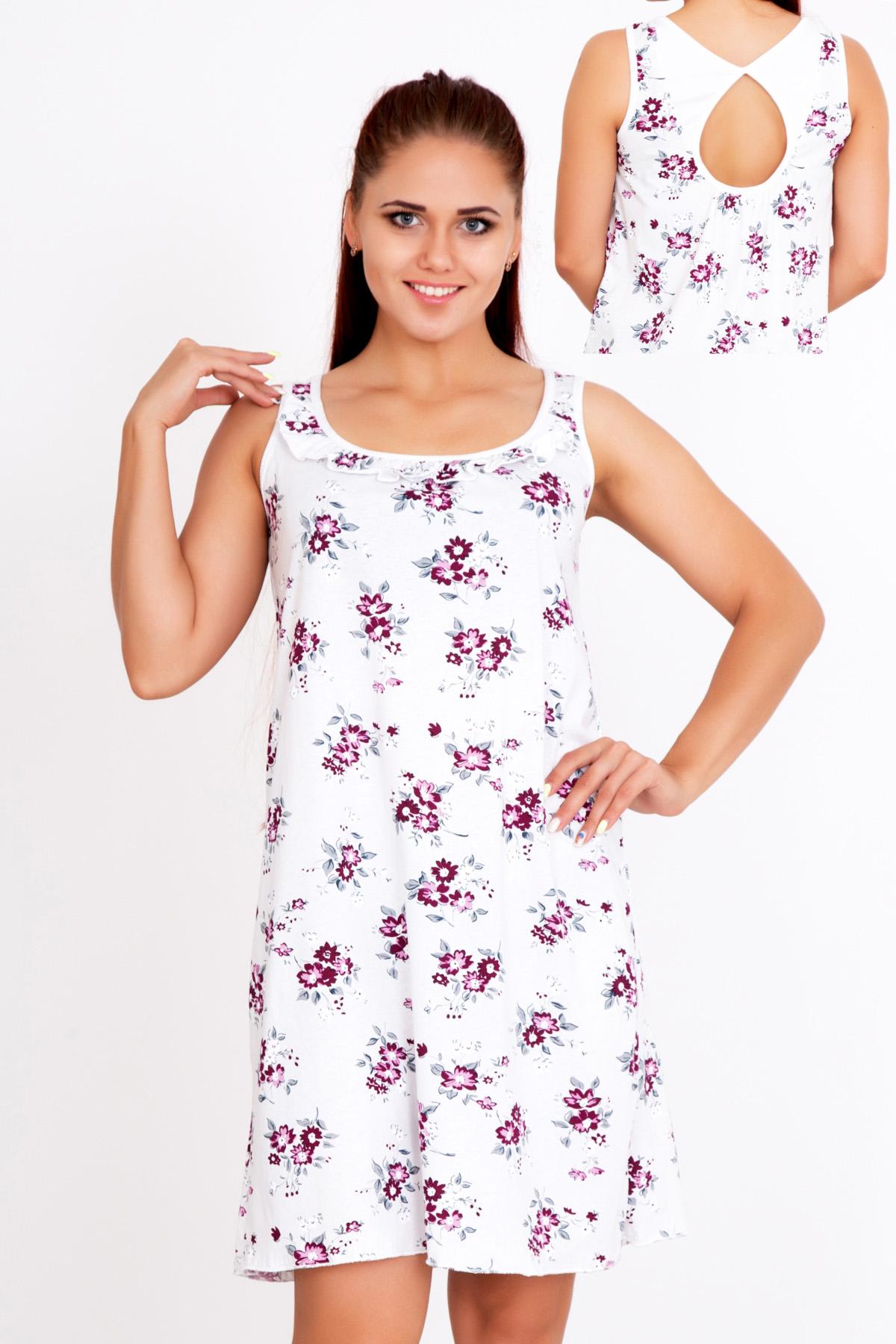 Жен. сорочка Фиалка р. 54Пижамы и ночные сорочки<br>Обхват груди:108 см<br>Обхват талии:88 см<br>Обхват бедер:116 см<br>Длина по спинке:91 см<br>Рост:167 см<br><br>Тип: Жен. сорочка<br>Размер: 54<br>Материал: Кулирка
