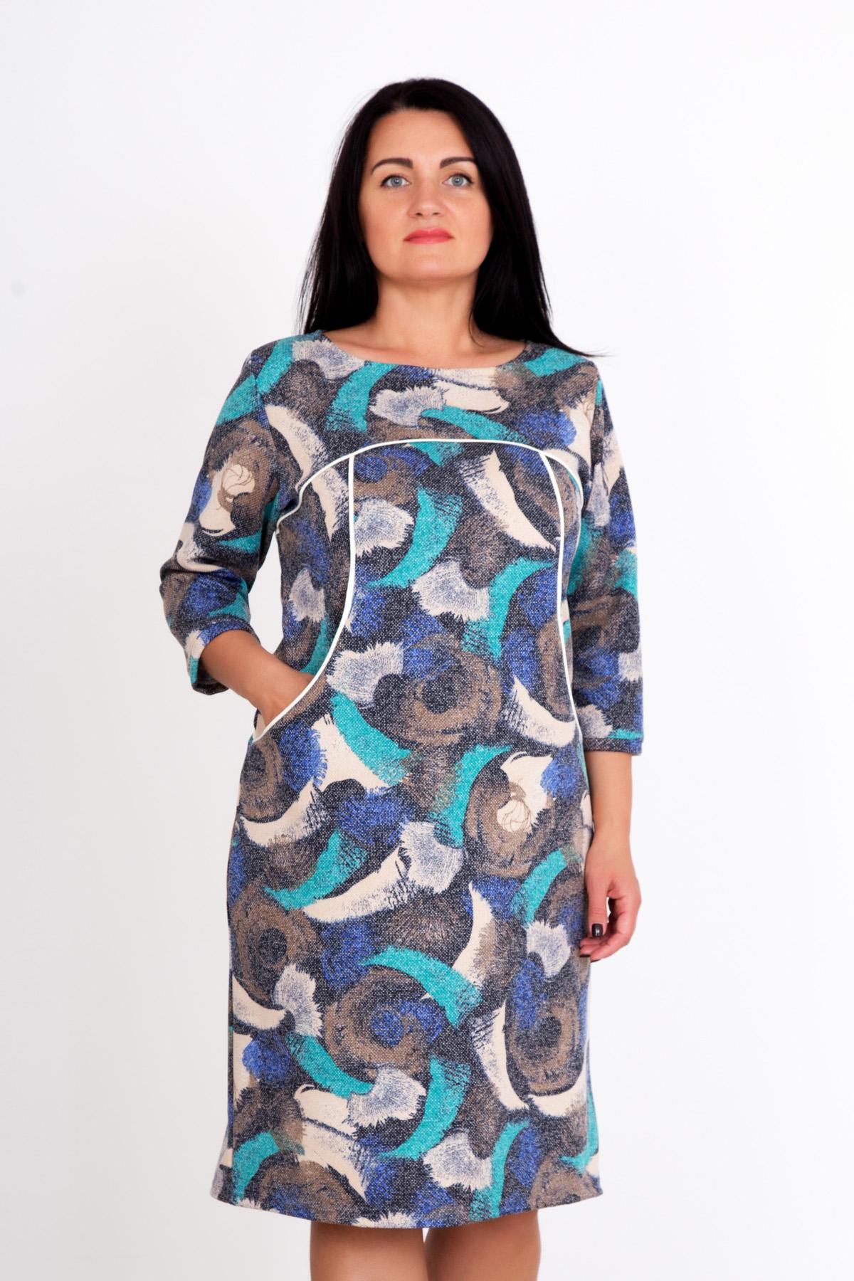 Жен. платье Маринель Бирюзовый р. 52Распродажа<br>Обхват груди:104 см<br>Обхват талии:85 см<br>Обхват бедер:112 см<br>Длина по спинке:97 см<br>Рост:167 см<br><br>Тип: Жен. платье<br>Размер: 52<br>Материал: Снег
