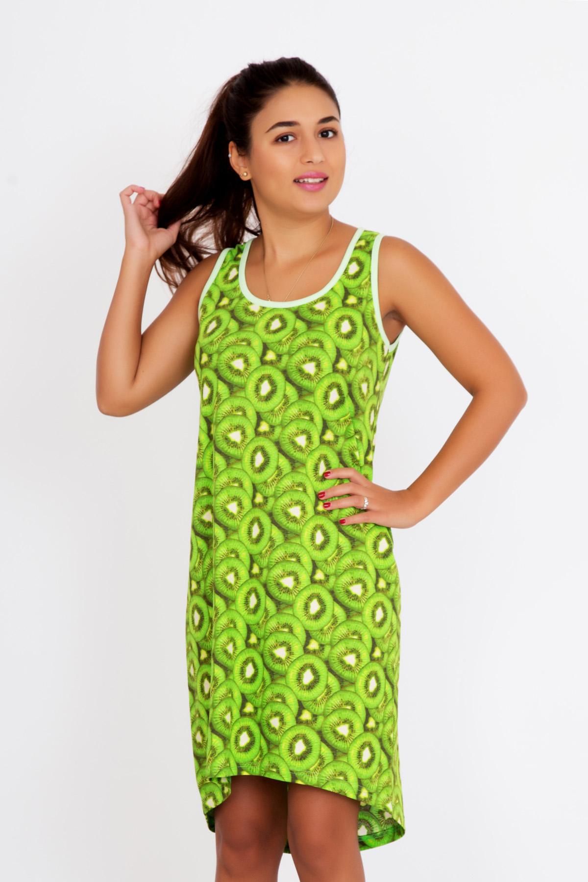 Жен. платье Витаминка р. 46Платья<br>Обхват груди:92 см<br>Обхват талии:74 см<br>Обхват бедер:100 см<br>Длина по спинке:91 см<br>Рост:167 см<br><br>Тип: Жен. платье<br>Размер: 46<br>Материал: Кулирка