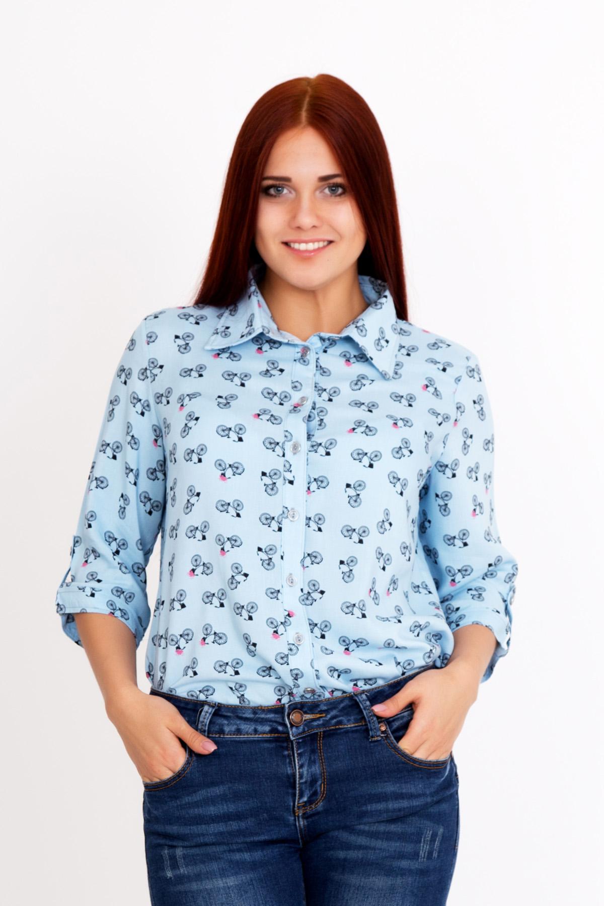 Жен. рубашка Виола р. 52Блузки, майки, кофты<br>Обхват груди:104 см<br>Обхват талии:85 см<br>Обхват бедер:112 см<br>Длина по спинке:69 см<br>Рост:167 см<br><br>Тип: Жен. рубашка<br>Размер: 52<br>Материал: Штапель