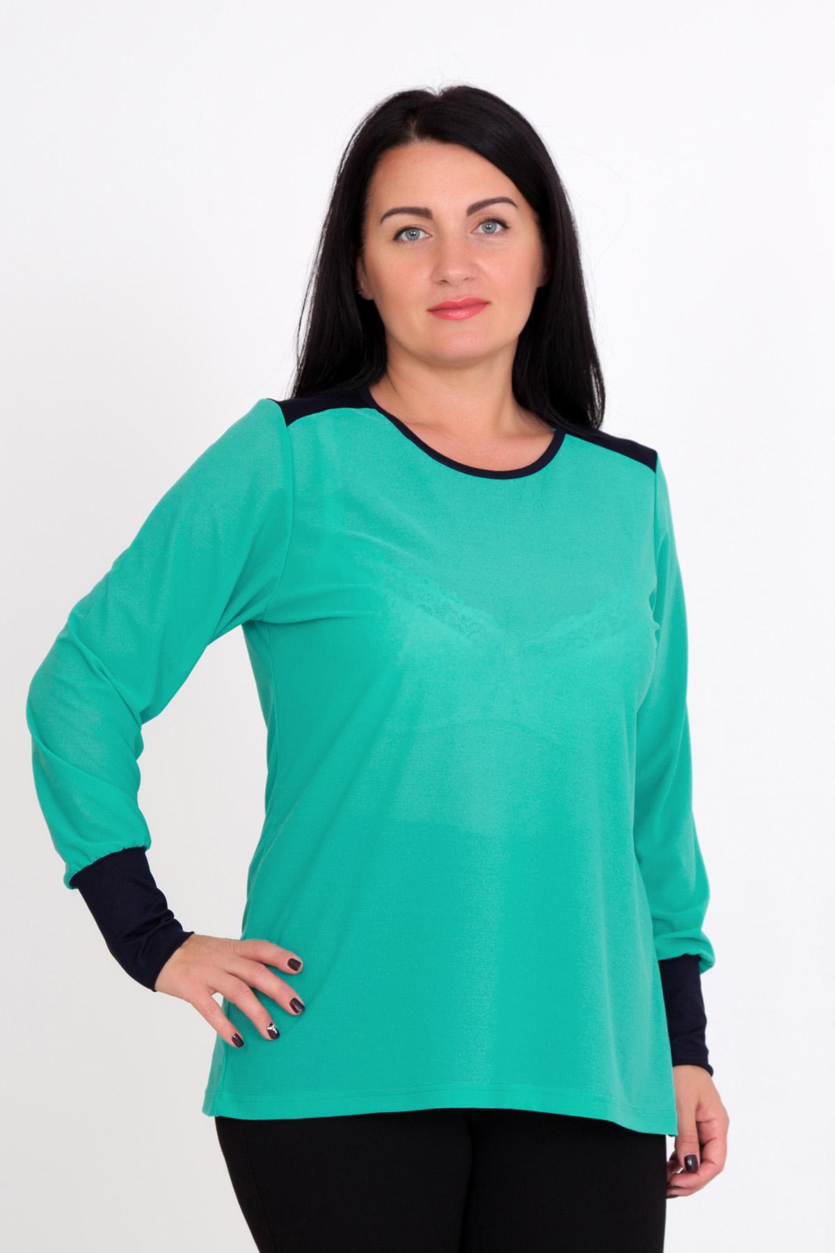 Жен. блуза Леона р. 54Распродажа женской одежды<br>Обхват груди: 108 см <br>Обхват талии: 88 см <br>Обхват бедер: 116 см <br>Длина по спинке: 67 см <br>Рост: 167 см<br><br>Тип: Жен. блуза<br>Размер: 54<br>Материал: Креп