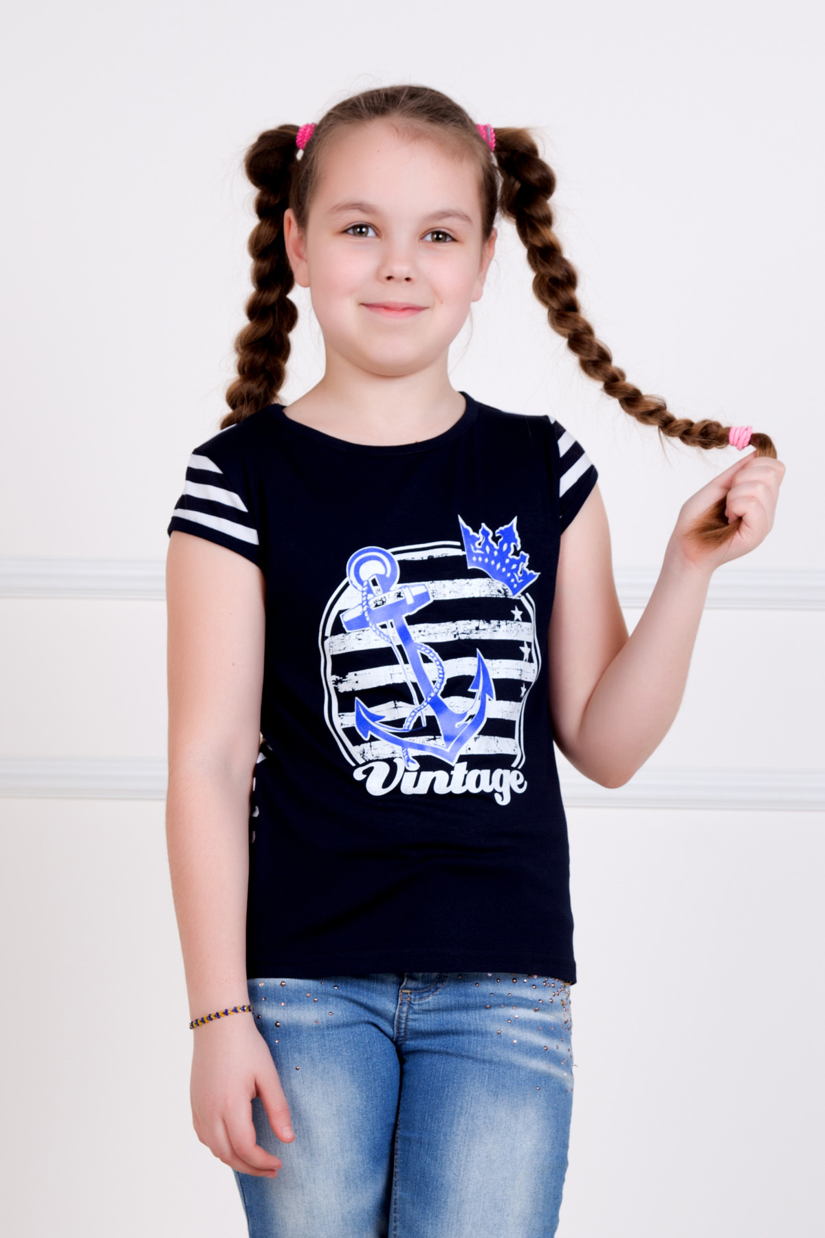 Дет. футболка Якорек р. 36Футболки и майки<br><br><br>Тип: Дет. футболка<br>Размер: 36<br>Материал: Вискоза